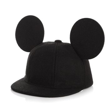 Trendy Winter Jacket Fashion Parent-Child Mouse Ears wool Baseball Cap children Animal Flat Brim Caps Beach Women men Snapback Hat Kids Hip Hop Hats AT_92_12