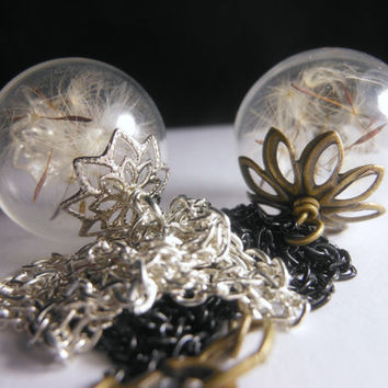 Vertical Hanging Dandelion Necklace Make A Wish Dandelion Seed Hollow Lampwork Bead Round Necklace  - 24 inches