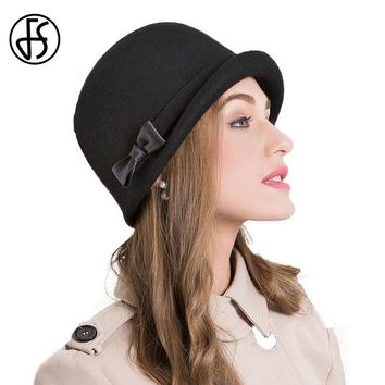 766c0ee9d50 FS Elegant Autumn Winter 100% Wool Fedoras Hat Black Pink Bow Cu