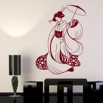 Vinyl Wall Decal Sticker Japan Woman Geisha Kimono Sexy Asian Girl Unique Gift (670ig)