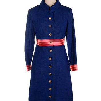 Vintage Navy Linen Coat/Dress Red/White Trim Nautical 1970s 35-28-38