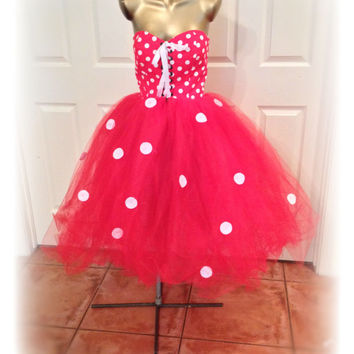 Adult tutu, adult minnie mouse, adult tutu dress, Minnie mouse , sexy womens costume, red polka dot corset dress, retro tutu dress