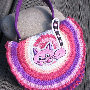Little Handbag, Small Lady Bag with Cat, Pink, Purple, Boho Crochet Purse Hippie Eco friendly For Baby Girl