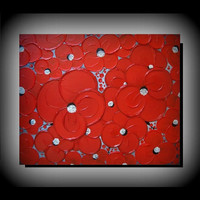 Original Abstract Floral Art 20x24 Palette Knife Heavy Texture Red Flowers Artwork, Modern Spring Home Decor Ready to Hang Acrylic Painting