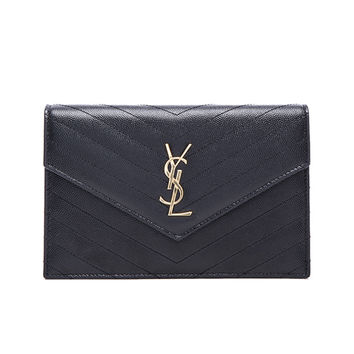 Saint Laurent Monogramme Chain Wallet in Black | FWRD