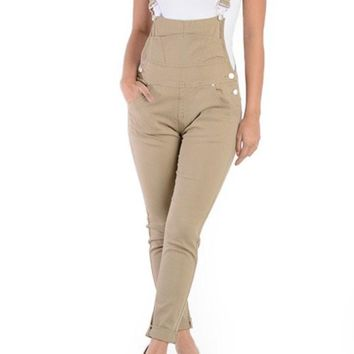 Women's Solid Skinny Overalls RJHO378-J21F