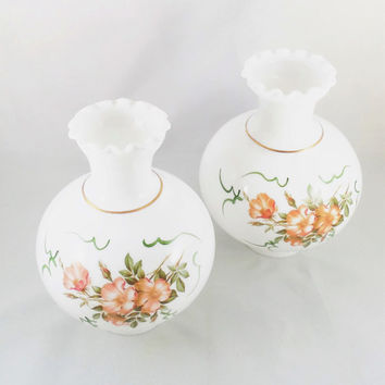 2 White Glass Chimney Globe Shades, Wild Rose Pattern, Hurricane Lamp Shades, Vintage Glass Lamp Shades, Floral Design Glass Shades