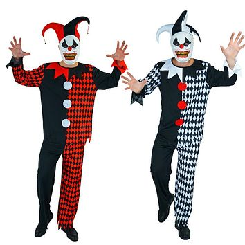 Deluxe Plus Mask Killer Clown Adults Costumes Halloween Fancy Dress Mens Circus Horror Costume For Evil Cosplay Male