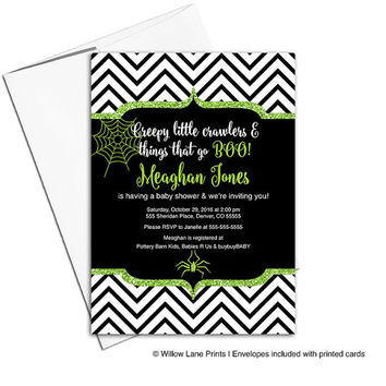 Halloween baby shower invitations boys | purple, black and white stripes | halloween party invitations | printable or printed - WLP00715