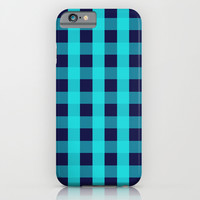 Plaid Flannel Navy Turquoise iPhone & iPod Case by Beautiful Homes