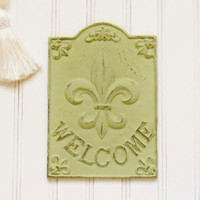 Cast Iron Welcome Plaque, Choose your Color, Welcome Sign, Fleur de lis Welcome Sign, Fleur de lis entrance decor, Foyer decor, French Decor
