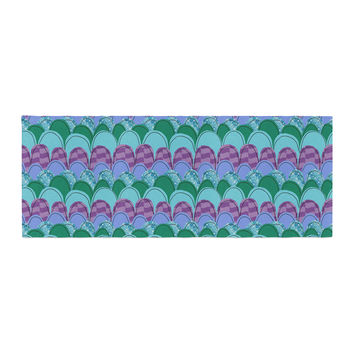 """Jane Smith """"Woodland Waves"""" Teal Purple Bed Runner"""