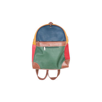 90s ESPRIT multicolor leather backpack / vintage 1990s