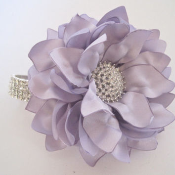 Stunning Lavender Satin Flower Rhinestone Wrist Corsage Bracelet Bridesmaid Mother of the Bride Prom with Rhinestone Accent Custom Order