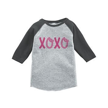 Custom Party Shop Kids XOXO Happy Valentine's Day Grey Raglan