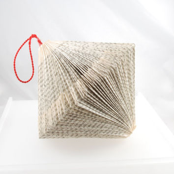 Christmas hanging paper ornament folded book art