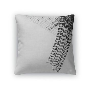 Throw Pillow, With Grunge Black Tire Track