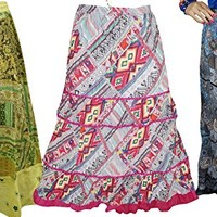 Mogul Womens Skirts Printed Hippie Gypsy Bohemian Casual Long Skirts Wholesale 3 Lot