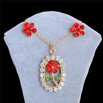Red Daisy Necklace Set
