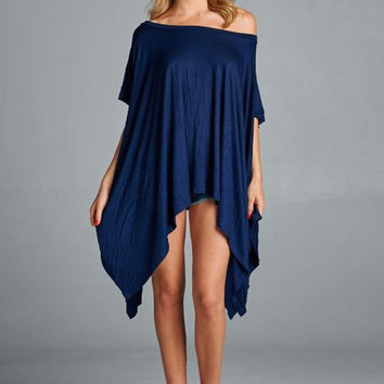 Cherish Poncho Top All Seasons Color-Navy