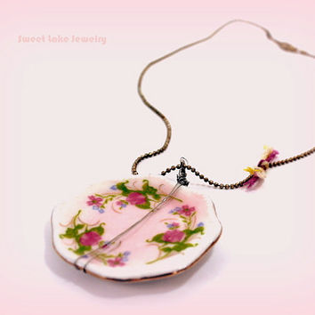 antique silver necklace-pink  ceramic - doll house dish pendant- floral design-romantic jewelry for her/ sweet 16