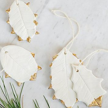 The Collected Works x Free People Womens Ceramic Holly Leaf Ornament