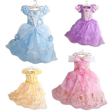 2017 Girls Summer Dress Kids Cindrella Snow White Cosplay Costume Baby Girl Princess Dress Rapunzel Aurora Belle Dress Vestidos