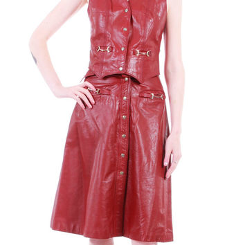 70s Vintage Leather 2 Piece Outfit Top & High Waisted Skirt Sienna Rust Brown Western Hippie Boho Retro Dress MINT Clothing Womens Size XS