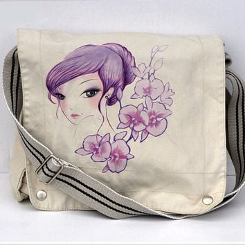 Purple Geisha girl Full color messenger bag white by namu on Etsy
