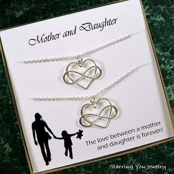 Mother daughter necklace set, mom daughter jewelry, mother daughter gift, mommy me, gifts for mom from daughter, birthday, infinity heart