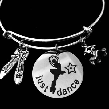 Ballet Just Dance Silver Expandable Charm Bracelet Dancer Ballerina Teacher Gift