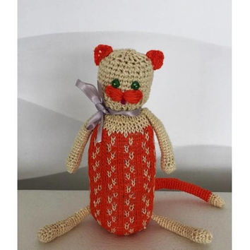 Stuffed hand knitted animal cat, toy for toddler Animals stuffed cat handmade plush toy Birthday gift Ready  To Ship ECO toy animal  doll