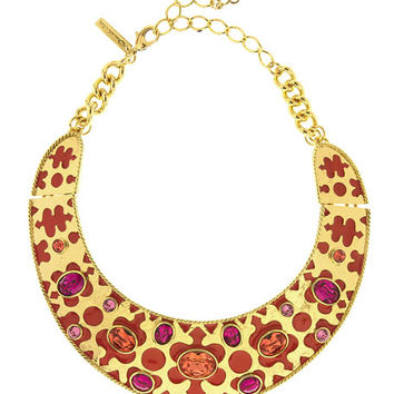 Oscar de la Renta Crystal & Resin Collar Necklace, Red