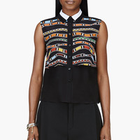 Ostwald Helgason Black Silk Chiffon Printed And Layered Blouse