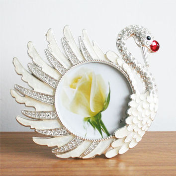 Large Swan Metal Crystal Home Decor Photo Frame Picture Frame Resin 4''