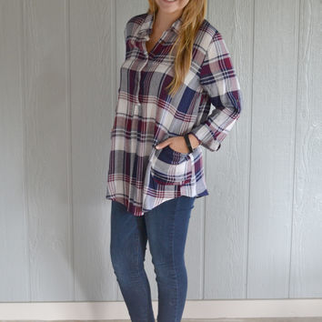 Lightening Strikes Plaid Pocket Top