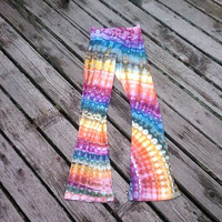 Ice Dyed Rainbow Rays Hand Dyed Yoga Pants -  Made to Order  - Grateful Dead Flow Pants - Tie Dyed Rainbows Flare Leg Yoga Pants