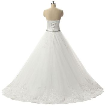 Beaded Wedding Dress Tulle Lace Applique Bridal Wedding Gowns