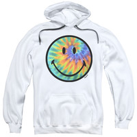 SMILEY WORLD/TIE DYE FACE-ADULT PULL-OVER HOODIE-WHITE