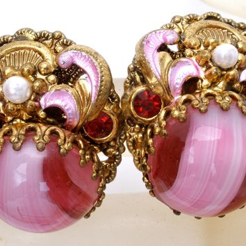 Pink Rhinestone Art Glass Earrings Vintage
