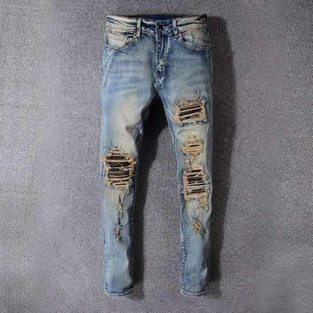 Style 527 Fear Of Godmens Distressed Embellished Ribbed Stretch Moto Pants Biker Jeans Slim Trousers Size 28 42