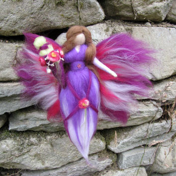 Birthday fairy, school-start LEAH Waldorf doll, Wool fairy ooak