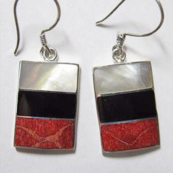 Onyx, Shell and Silver Earrings