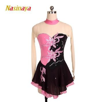 Customized Figure Skating Dress Costume Ice Skating skirt Gymnastics pink Adult Girl Show Performance Rhinestone Competition