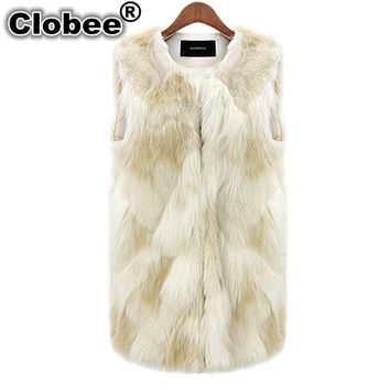 Winter Jacket Women Sleeveless Fur Jackets Fall ming Feather Furry Faux Fur Gilet Coat 2018 Faux Fur Vest Coats Waistcoat