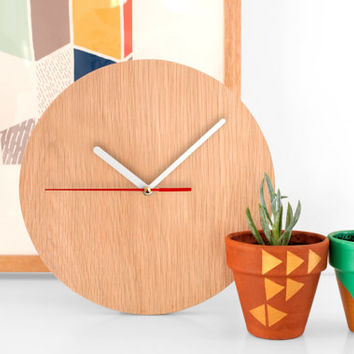 Wooden Wall Clock:Simple modern contemporary clock bedside desk retro danish oak teak time vintage industrial time watch bespoke mid century