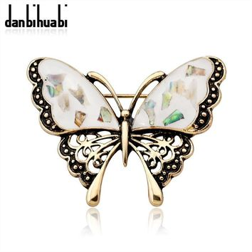 Trendy Fashion abalone shell butterfly brooch gold / silver insects brooch pin denim jacket for women party banquet jewelry accessories AT_94_13