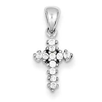925 Sterling Silver 17mm Multiple Prong Set CZ Girls Cross Pendant