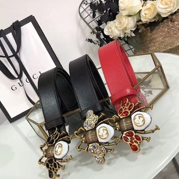 GUCCI Bee leather belt