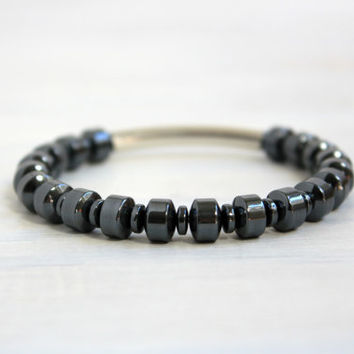 Men Bohemian Sterling Silver Jewelry Gemstone Hematite Black Bead Silver Tube Stretch Bracelet  Gift for Him
